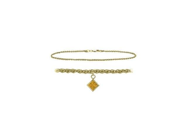 10K Yellow Gold 10 Inch Wheat Anklet with Genuine Citrine Square Charm