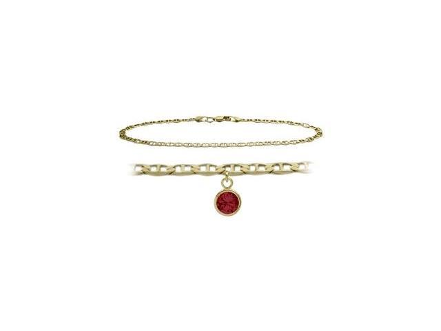14K Yellow Gold 9 Inch Mariner Anklet with Created Ruby Round Charm