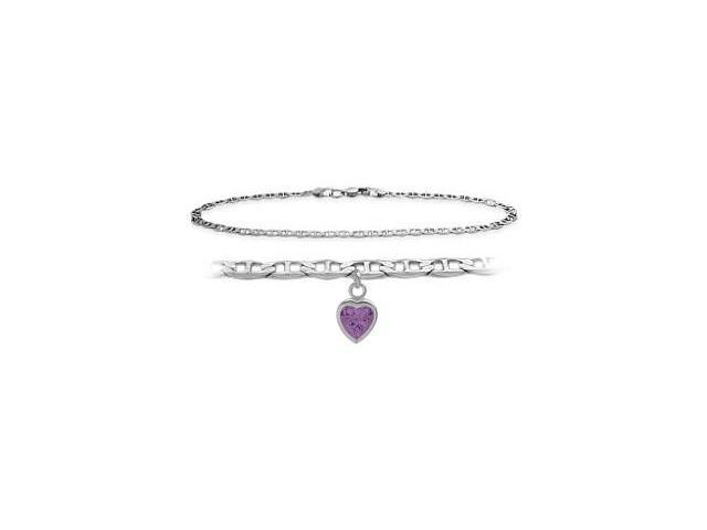 Genuine Sterling Silver 10 Inch Mariner Anklet with Genuine Amethyst Heart Charm