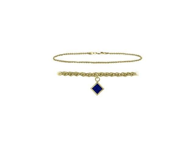 10K Yellow Gold 9 Inch Wheat Anklet with Created Sapphire Square Charm