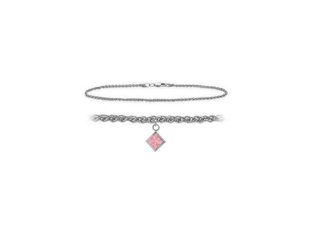 Genuine Sterling Silver 10 Inch Wheat Anklet with Created Tourmaline Square Charm