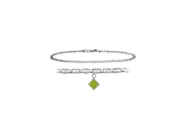 Genuine Sterling Silver 10 Inch Mariner Anklet with Genuine Peridot Square Charm