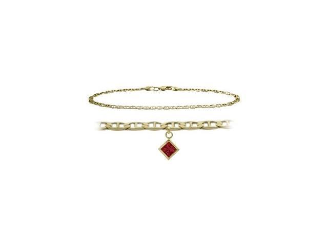14K Yellow Gold 10 Inch Mariner Anklet with Created Ruby Square Charm
