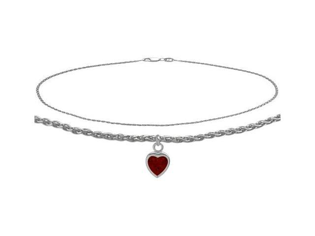14K White Gold 9 Inch Wheat Anklet with Genuine Garnet Heart Charm
