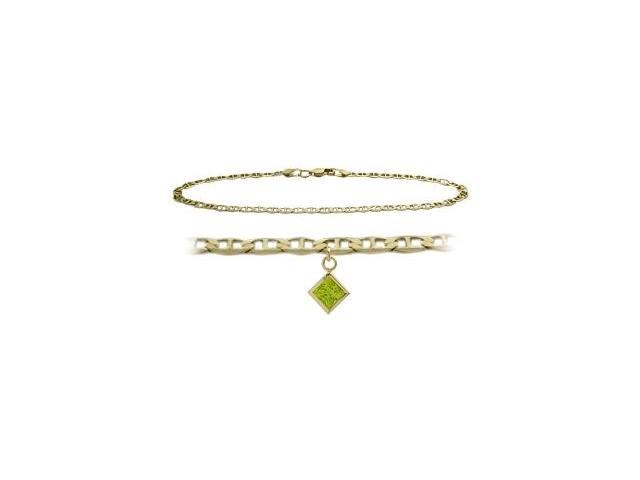10K Yellow Gold 9 Inch Mariner Anklet with Genuine Peridot Square Charm