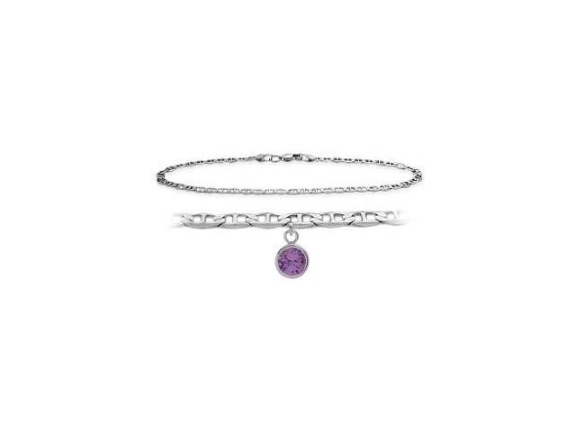 Genuine Sterling Silver 9 Inch Mariner Anklet with Genuine Amethyst Round Charm