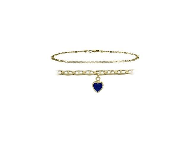 14K Yellow Gold 9 Inch Mariner Anklet with Created Sapphire Heart Charm