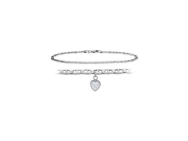 14K White Gold 10 Inch Mariner Anklet with Genuine White Topaz Heart Charm