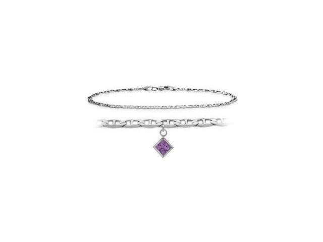 10K White Gold 9 Inch Mariner Anklet with Genuine Amethyst Square Charm