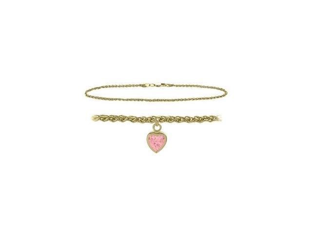14K Yellow Gold 10 Inch Wheat Anklet with Created Tourmaline Heart Charm