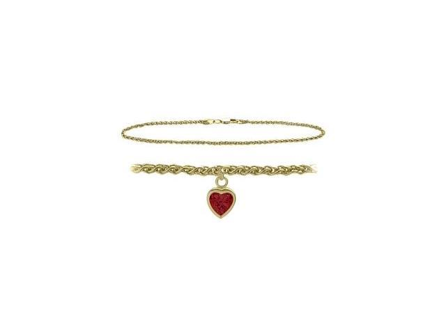14K Yellow Gold 10 Inch Wheat Anklet with Created Ruby Heart Charm