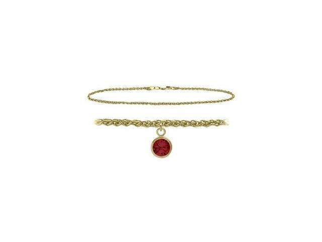 14K Yellow Gold 9 Inch Wheat Anklet with Created Ruby Round Charm