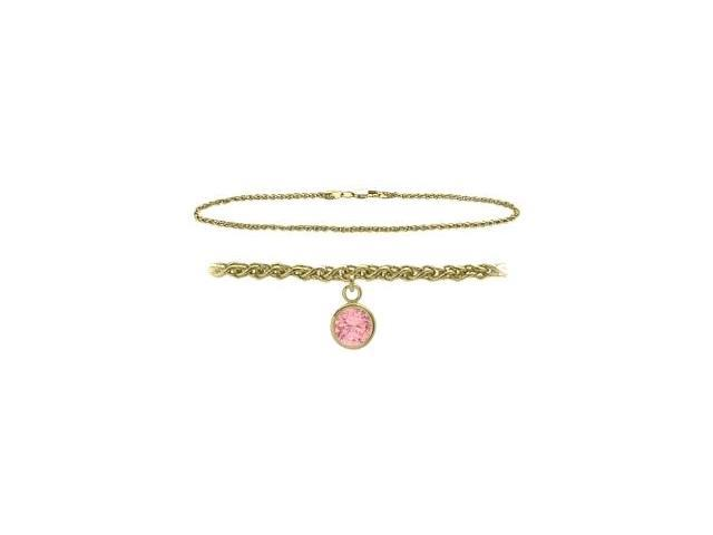 14K Yellow Gold 9 Inch Wheat Anklet with Created Tourmaline Round Charm
