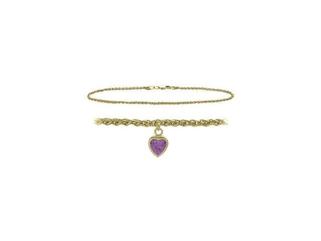 14K Yellow Gold 10 Inch Wheat Anklet with Genuine Amethyst Heart Charm
