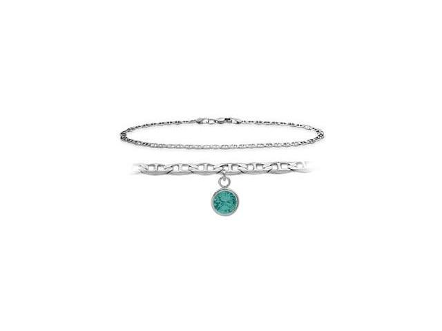 14K White Gold 9 Inch Mariner Anklet with Genuine Blue Topaz Round Charm