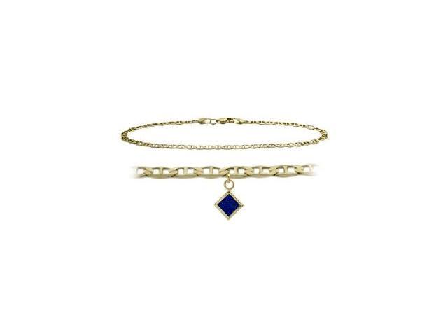 14K Yellow Gold 9 Inch Mariner Anklet with Created Sapphire Square Charm