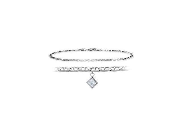 14K White Gold 9 Inch Mariner Anklet with Genuine White Topaz Square Charm