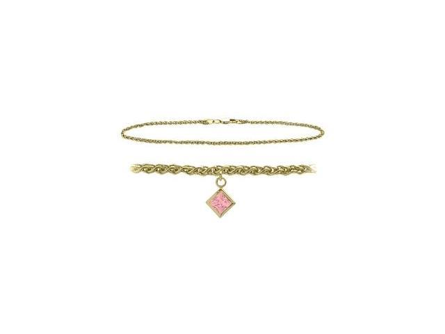 14K Yellow Gold 10 Inch Wheat Anklet with Created Tourmaline Square Charm