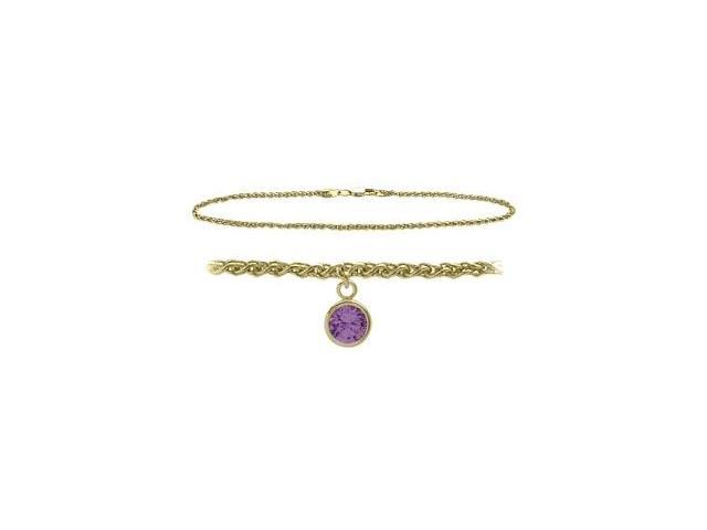 14K Yellow Gold 9 Inch Wheat Anklet with Genuine Amethyst Round Charm