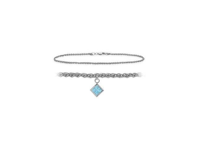 14K White Gold 10 Inch Wheat Anklet with Created Aquamarine Square Charm