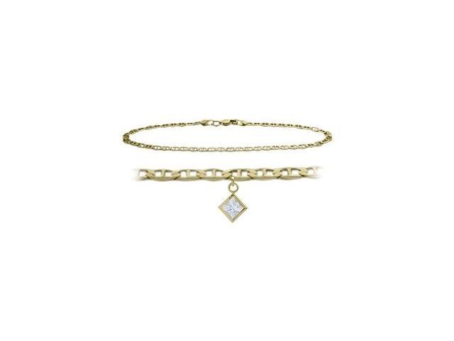 10K Yellow Gold 9 Inch Mariner Anklet with Genuine White Topaz Square Charm