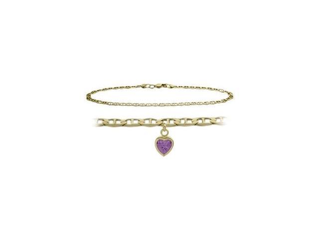 14K Yellow Gold 9 Inch Mariner Anklet with Genuine Amethyst Heart Charm