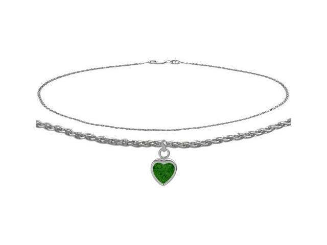 10K White Gold 9 Inch Wheat Anklet with Created Emerald Heart Charm