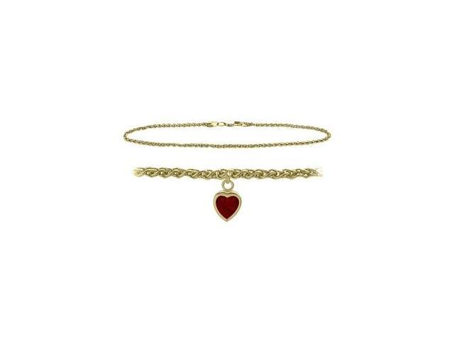 14K Yellow Gold 9 Inch Wheat Anklet with Genuine Garnet Heart Charm