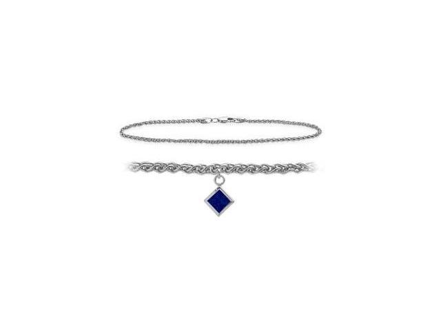 10K White Gold 9 Inch Wheat Anklet with Created Sapphire Square Charm