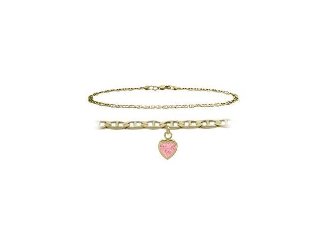 14K Yellow Gold 9 Inch Mariner Anklet with Created Tourmaline Heart Charm