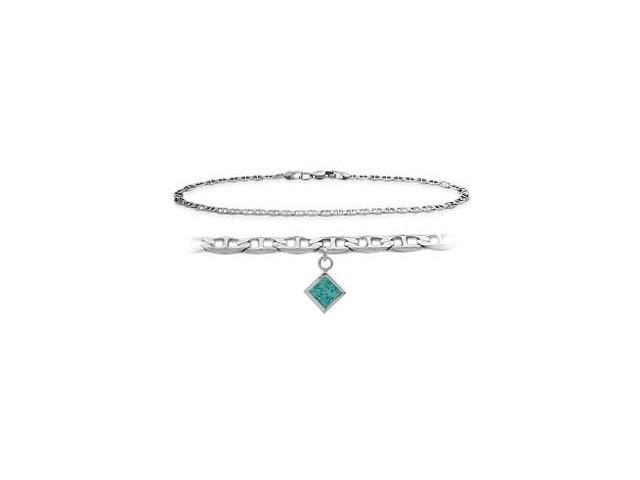 14K White Gold 10 Inch Mariner Anklet with Genuine Blue Topaz Square Charm