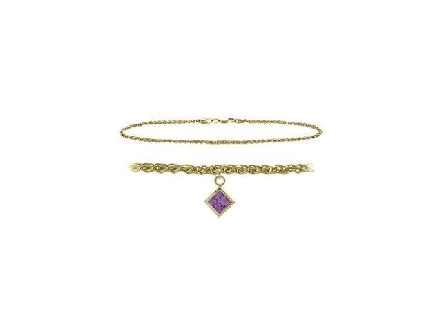 14K Yellow Gold 10 Inch Wheat Anklet with Genuine Amethyst Square Charm