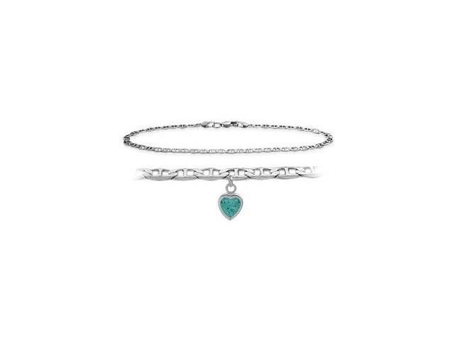 10K White Gold 10 Inch Mariner Anklet with Genuine Blue Topaz Heart Charm