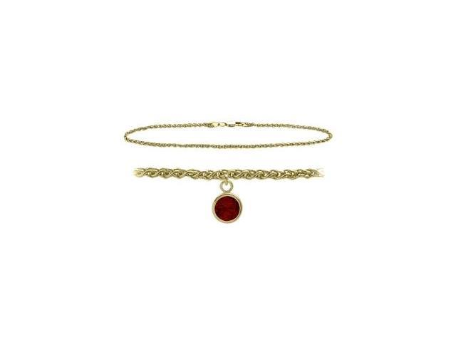 14K Yellow Gold 10 Inch Wheat Anklet with Genuine Garnet Round Charm
