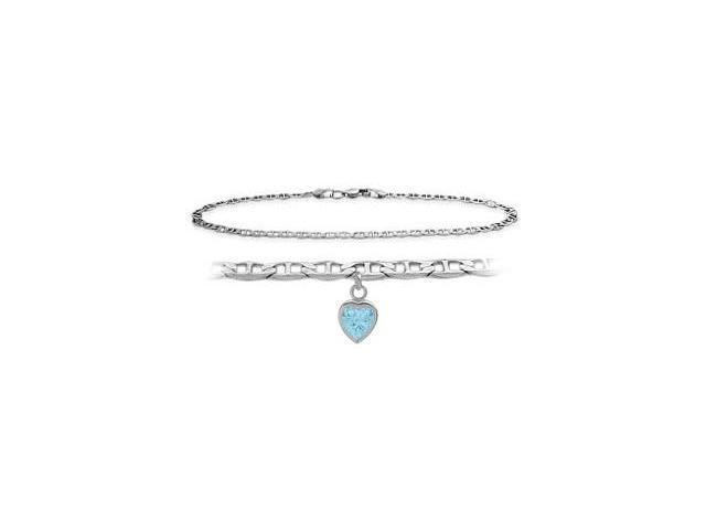 14K White Gold 9 Inch Mariner Anklet with Created Aquamarine Heart Charm