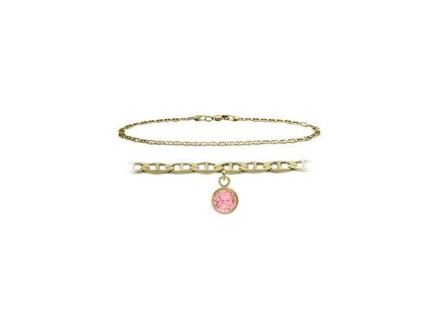 14K Yellow Gold 10 Inch Mariner Anklet with Created Tourmaline Round Charm