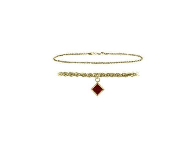 14K Yellow Gold 10 Inch Wheat Anklet with Genuine Garnet Square Charm