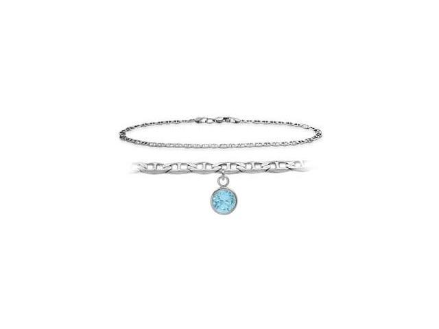 10K White Gold 10 Inch Mariner Anklet with Created Aquamarine Round Charm
