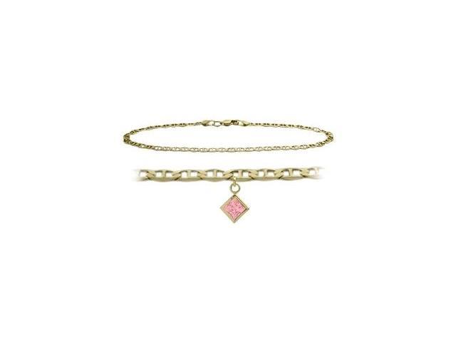 14K Yellow Gold 9 Inch Mariner Anklet with Created Tourmaline Square Charm