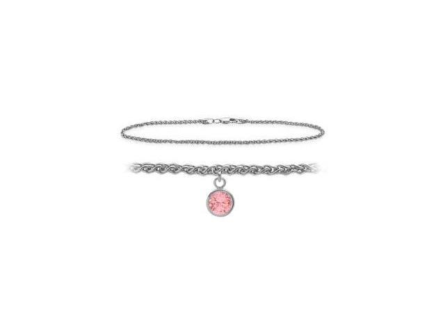 10K White Gold 9 Inch Wheat Anklet with Created Tourmaline Round Charm