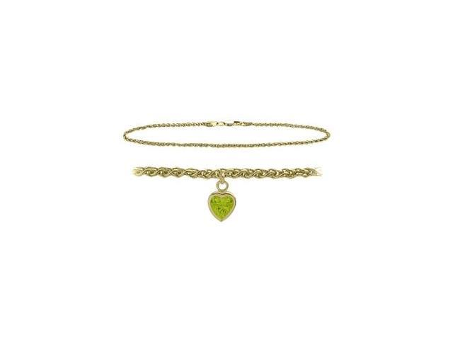 10K Yellow Gold 10 Inch Wheat Anklet with Genuine Peridot Heart Charm