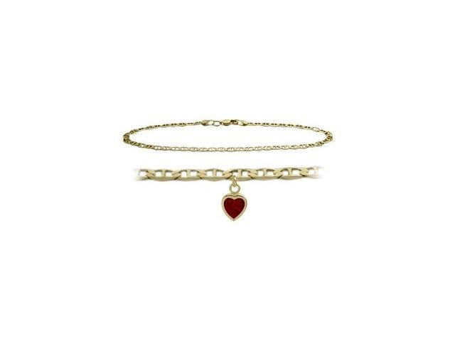 14K Yellow Gold 10 Inch Mariner Anklet with Genuine Garnet Heart Charm