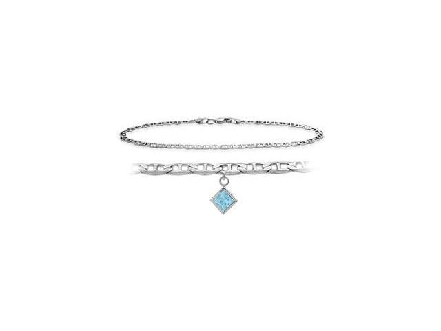 14K White Gold 10 Inch Mariner Anklet with Created Aquamarine Square Charm