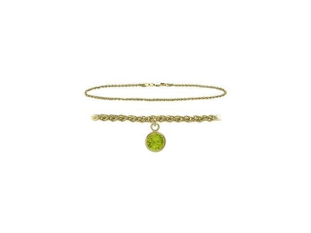 10K Yellow Gold 9 Inch Wheat Anklet with Genuine Peridot Round Charm