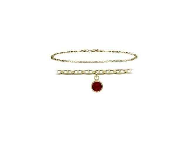 14K Yellow Gold 10 Inch Mariner Anklet with Genuine Garnet Round Charm