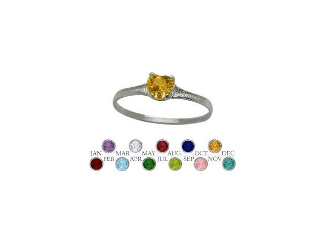 10 Karat White Gold Genuine Citrine Heart Shape Gem Baby Ring - SIZE 2