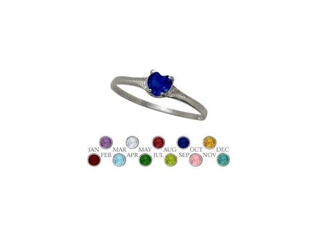 10 Karat White Gold Created Sapphire Heart Shape Gem Baby Ring - SIZE 2