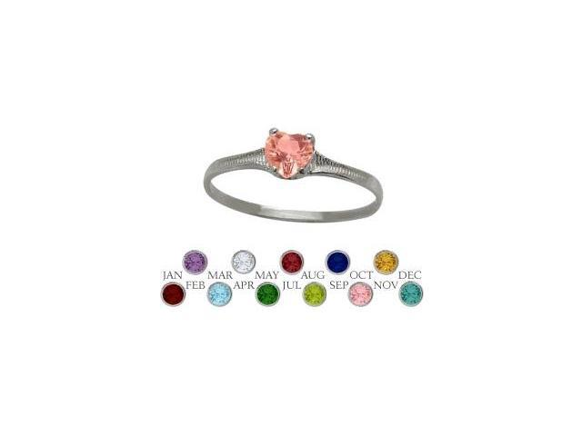 10 Karat White Gold Created Tourmaline Heart Shape Gem Baby Ring - SIZE 4