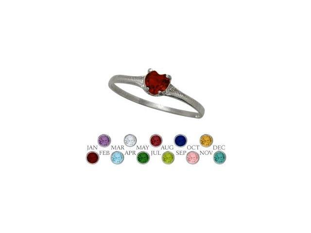 10 Karat White Gold Genuine Garnet Heart Shape Gem Baby Ring - SIZE 2