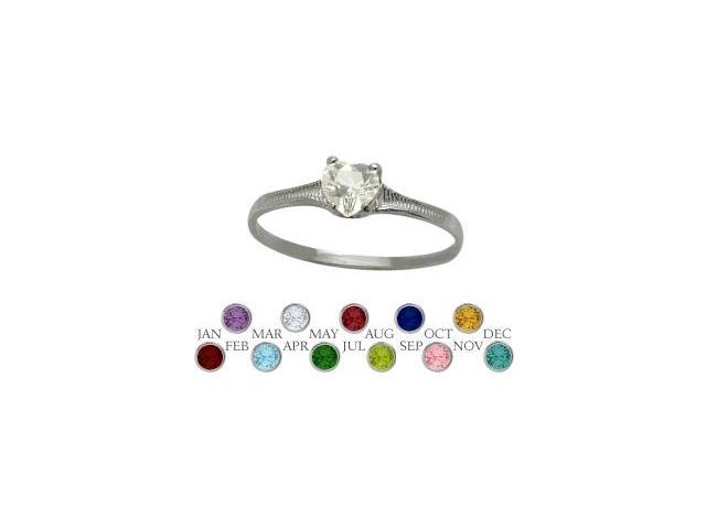 10 Karat White Gold Genuine White Topaz Heart Shape Gem Baby Ring - SIZE 2